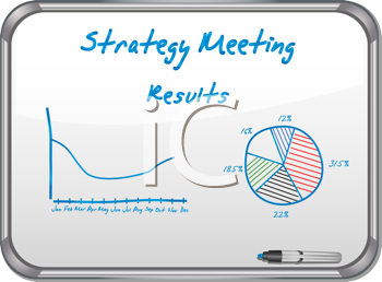 Royalty Free Clipart Image of a  Metal Framed White Board With Meeting Notes