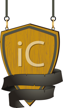 Royalty Free Clipart Image of a Sign Hanging From Ropes