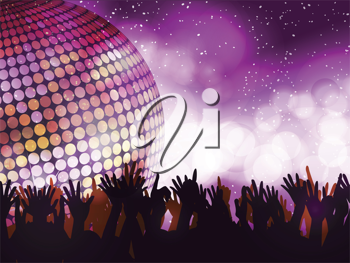 Sparkling disco ball with crowd partying on a glowing background