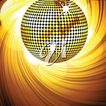 sparkling gold disco ball on a swirling background with glowing circles