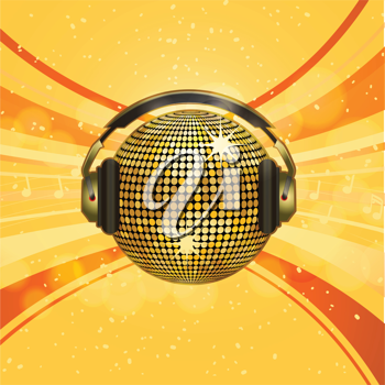 Gold disco ball with headphones on starburst background and glows