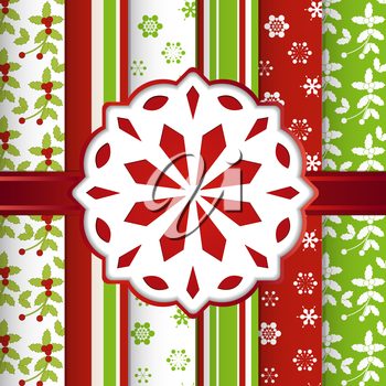 Christmas scrap booking background with snowflake and ribbon