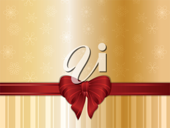 Gold Christmas background snowflakes, ribbon and bow
