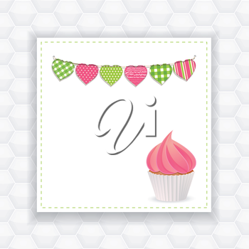 cupcake with pink icing on a panel background with bunting