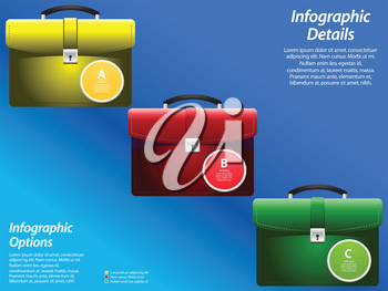 Infographic with Colored Briefcases and Sample Text Over Blue Background