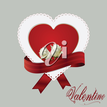 Heart Card and Red Ribbon with Two Roses and Valentine Text