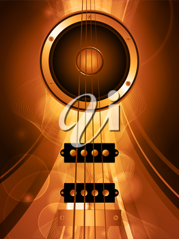 Air Bass Guitar and Loudspeaker Over Golden Glowing Background with Waves