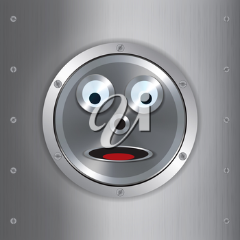 Surprised Metallic Robot Face Over Brushed Metallic Background with Screws