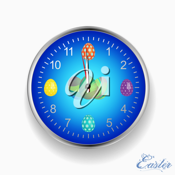 Blue and Metallic Wall Clock with Decorated Easter Eggs Over White with Floral Text