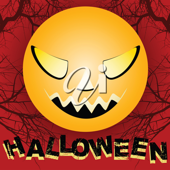 Halloween Creepy Yellow Big Moon with Scary Face Over Red Background With Branches and Decorative Text