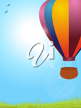 Spring Blue Sky Background with Air Balloon Sunshine Birds and Grass