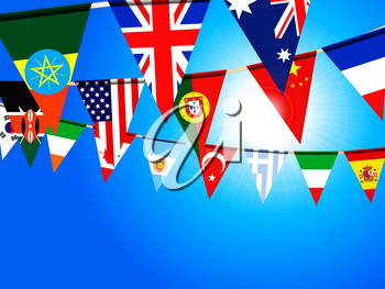 Colorful World Flags Bunting Over Deep Blue Sunny Sky Background