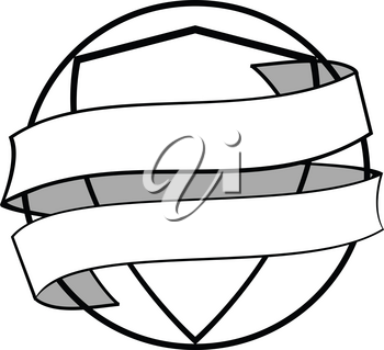Hand Drawn Style Circular Border With Inner Shield Wrapped In a Blank White Banner