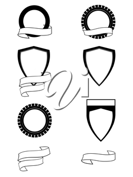 Heraldry Set Of Six Different Blank Shield To Personalize And Two Blank Personalizable Copy Space Banners in Black Over White
