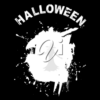 Halloween Copy Space Black Background With Grunge White Stain For Text Witch Silhouette And Decorative Text