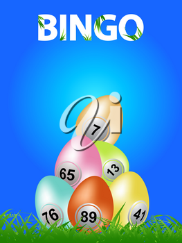 Easter Eggs With Bingo Numbers On Green Grass Over Blue Background With Decorative Bingo Text