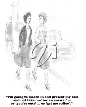 Royalty Free Clipart Image of Two Businesswomen Walking and Talking