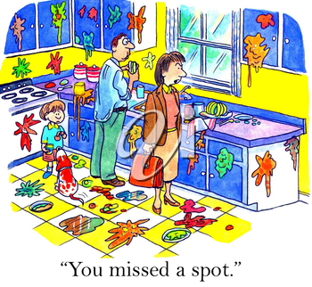 Royalty Free Clipart Image of Mother Coming Home to a Disastrous Kitchen