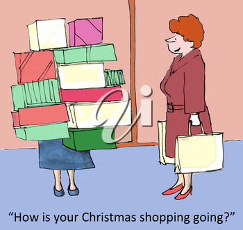Royalty Free Clipart Image of Women Christmas Shopping