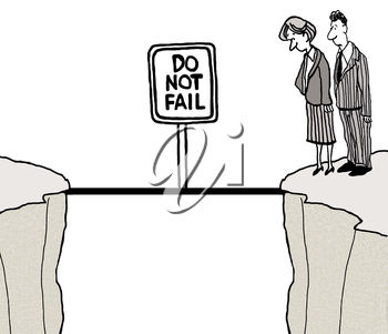 Royalty Free Clipart Image of Colleagues Getting Ready to Cross a Bridge