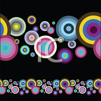 Royalty Free Clipart Image of a Circle Pattern on Black