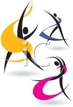 Royalty Free Clipart Image of Gymnastic Figures in Letter Form