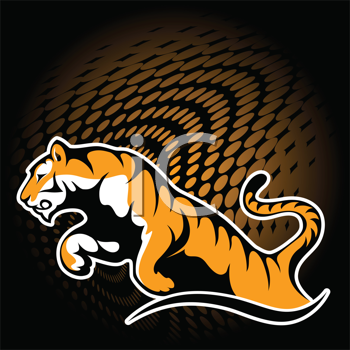 Royalty Free Clipart Image of Tiger Leaping