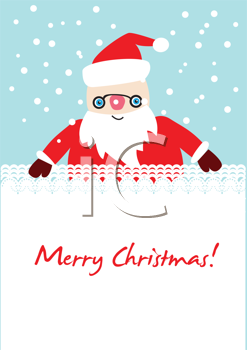 Royalty Free Clipart Image of a Christmas Greeting With Santa