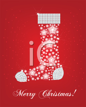 Royalty Free Clipart Image of a Christmas Greeting With a Snowflake Background