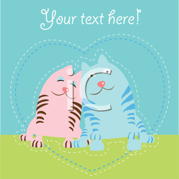 Royalty Free Clipart Image of Two Cats in a Heart With Space for Text