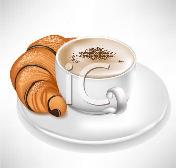 chocolate croissant with coffee cup