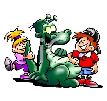 Royalty Free Clipart Image of a Green Dinosaurs With Kids