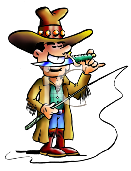 Royalty Free Clipart Image of a Cowboy With a Knife