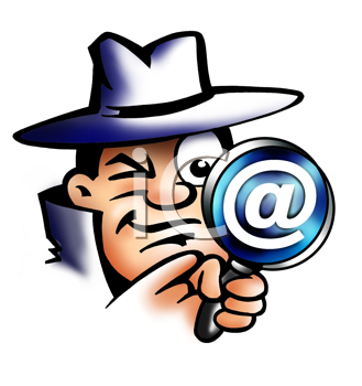 Royalty Free Clipart Image of a Detective With a Magnifying Glass With the At Symbol