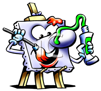 Royalty Free Clipart Image of an Easel Painting