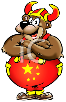 Royalty Free Clipart Image of a Viking Bear From Russia