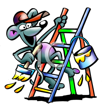 Royalty Free Clipart Image of a Mouse on a Ladder With Paint