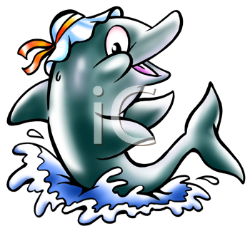 Royalty Free Clipart Image of a Dolphin in the Water