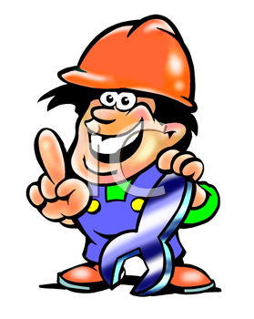 Royalty Free Clipart Image of a Man in a Hardhat Holding a Wrench
