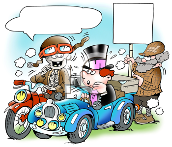Royalty Free Clipart Image of a Vintage Road Rally