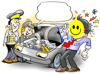 Royalty Free Clipart Image of a Man Looking at a Car With a Happy Face