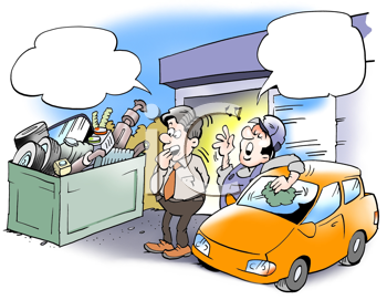 Royalty Free Clipart Image of a Car Lot