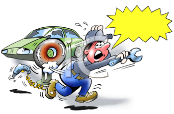 Royalty Free Clipart Image of a Tire About to Burst