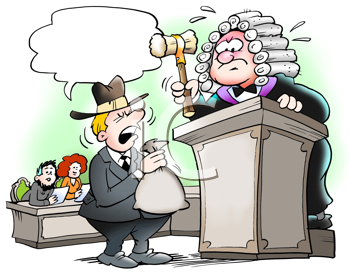 Royalty Free Clipart Image of a Man in Court Before a Judge