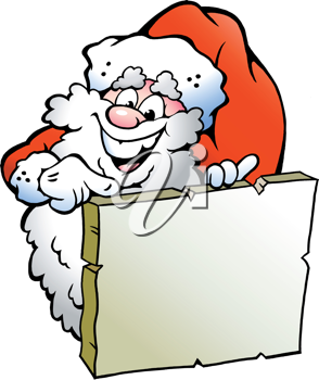 Hand-drawn Vector illustration of an Happy Santa pointing to a sign