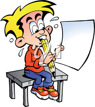Hand-drawn Vector illustration of a young school boy sitting at a desk with a paper in his hand