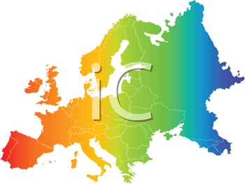 Royalty Free Clipart Image of Europe and Asia