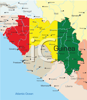 Royalty Free Clipart Image of a Map of Guinea With the Flag Painted on It