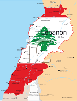 Royalty Free Clipart Image of a Map of Lebanon With the Flag on It
