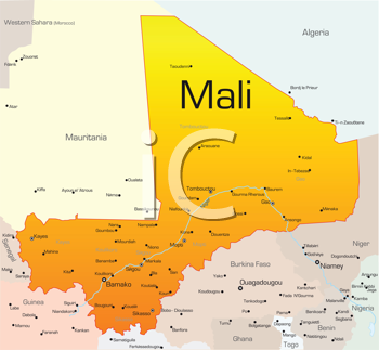 Royalty Free Clipart Image of a Map of Mali